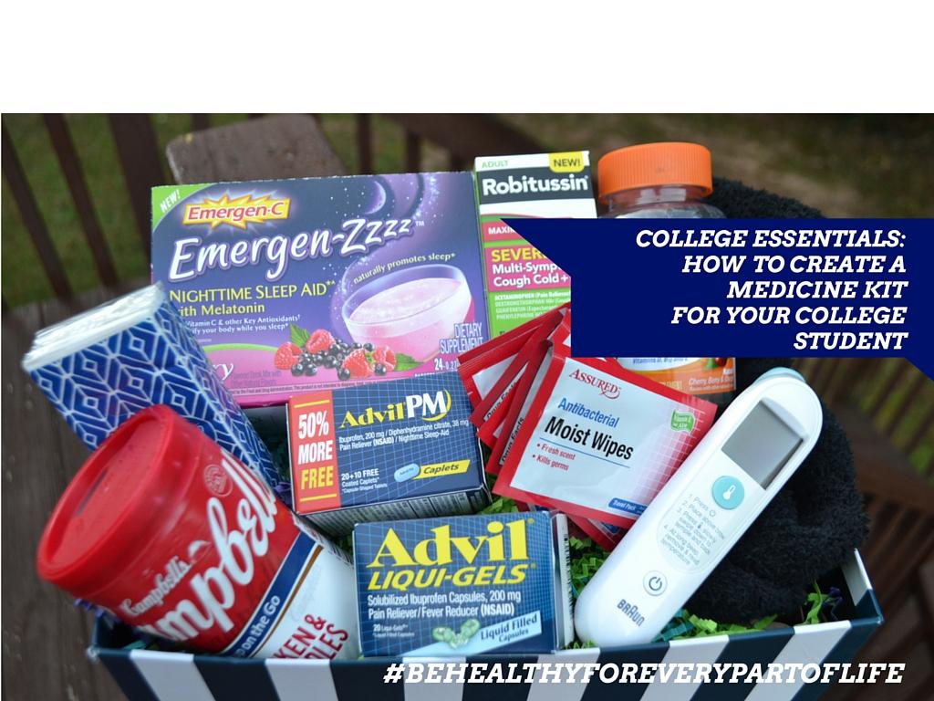 """College Essentials"" ""Advil Liqui-Gels"" ""Medicine Kit"" ""Thermometer"" ""Centrum MultiGummy"" ""Emergen-Zzzz"" ""Robitussin CF Severe Multi-Sympton Cough Cold+Flu"""